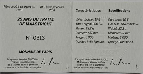 Zertifikat:Frankreich : 10 Euro Vertrag von Maastricht  2018 PP