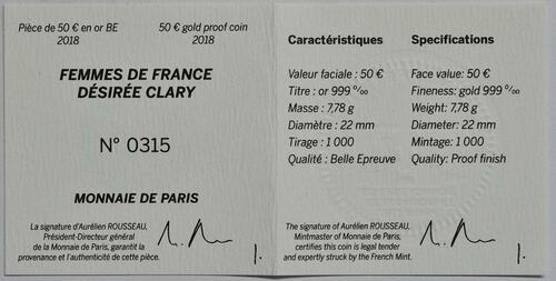 Zertifikat :Frankreich : 50 Euro Désirée Clary  2018 PP
