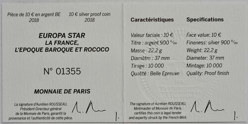 Zertifikat:Frankreich : 10 Euro Barock und Rokoko  2018 PP