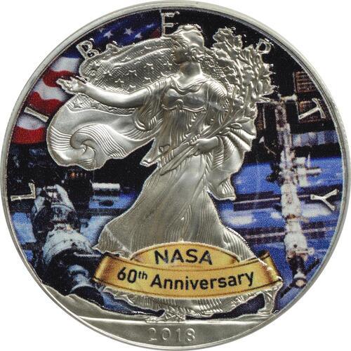 Vorderseite :USA : 1 Dollar Silber Eagle - 60 Jahre NASA - ISS  2018 Stgl.