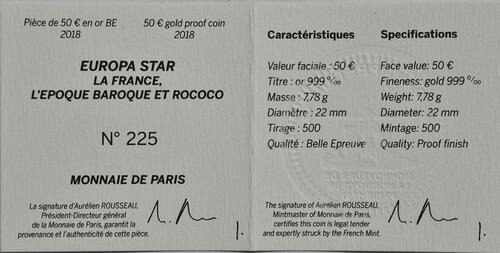 Zertifikat:Frankreich : 50 Euro Barock und Rokoko  2018 PP