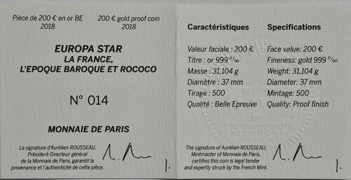 Zertifikat:Frankreich : 200 Euro Barock und Rokoko  2018 PP