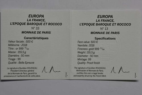 Zertifikat:Frankreich : 500 Euro Barock und Rokoko  2018 PP