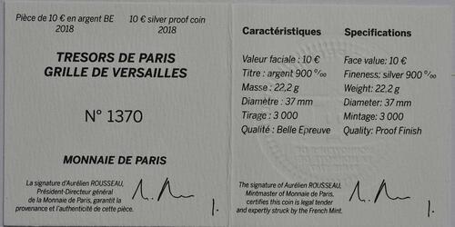 Zertifikat:Frankreich : 10 Euro Tor des Schlosses von Versailles  2018 PP