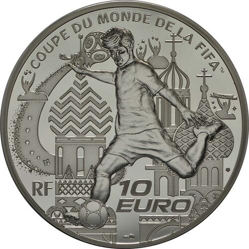Rückseite:Frankreich : 10 Euro FIFA Fußball WM  2018 PP