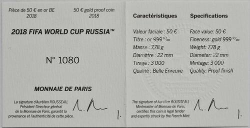 Zertifikat :Frankreich : 50 Euro FIFA Fußball WM  2018 PP