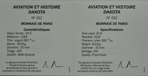 Zertifikat:Frankreich : 50 Euro Dakota C-47 / Luftbrücke Berlin  2018 PP