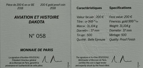 Zertifikat:Frankreich : 200 Euro Dakota C-47 / Luftbrücke Berlin  2018 PP