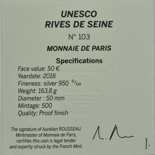 Zertifikat:Frankreich : 50 Euro Louvre  2018 PP