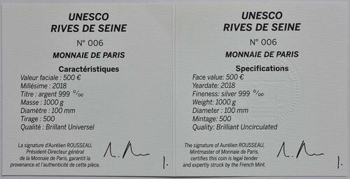 Zertifikat:Frankreich : 500 Euro Louvre  2018 PP