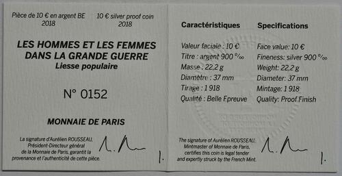 Zertifikat :Frankreich : 10 Euro Jubel der Menschen  2018 PP
