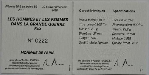 Zertifikat :Frankreich : 10 Euro Frieden  2018 PP