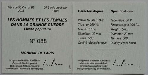 Zertifikat :Frankreich : 50 Euro Jubel der Menschen  2018 PP