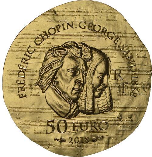 Rückseite:Frankreich : 50 Euro George Sand / Frederic Chopin  2018 PP