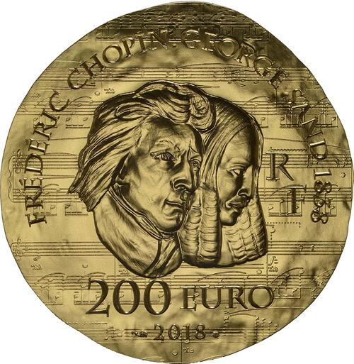 Rückseite :Frankreich : 200 Euro George Sand / Frederic Chopin  2018 PP