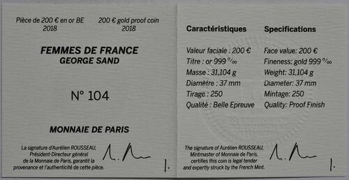 Zertifikat :Frankreich : 200 Euro George Sand / Frederic Chopin  2018 PP