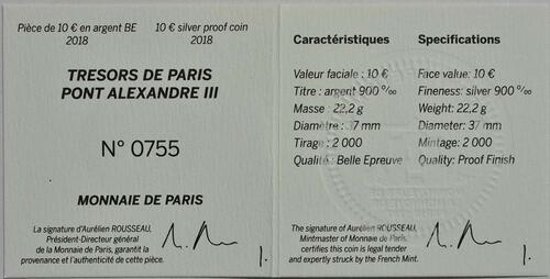 Zertifikat:Frankreich : 10 Euro  Alexander III Brücke  2018 PP