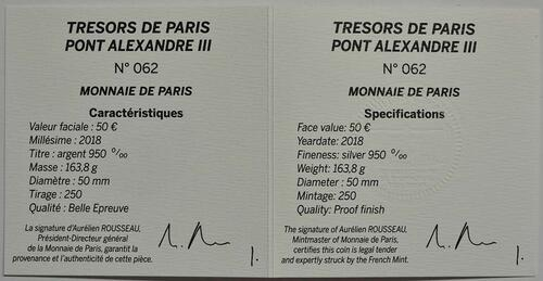 Zertifikat:Frankreich : 50 Euro  Alexander III Brücke  2018 PP
