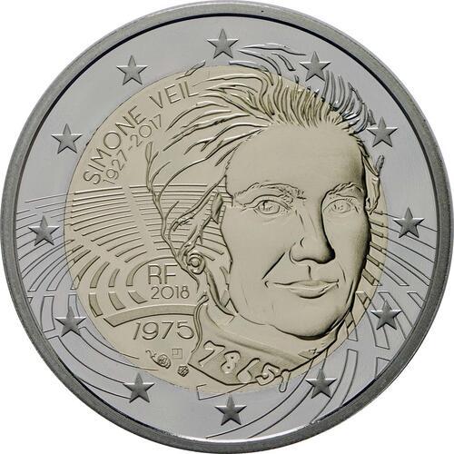 Rückseite:Frankreich : 2 Euro Simone Veil  2018 PP