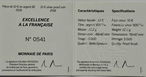 Zertifikat:Frankreich : 10 Euro Boucheron in Form eines Efeublattes  2018 PP