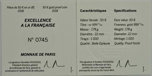 Zertifikat:Frankreich : 50 Euro Boucheron  2018 PP