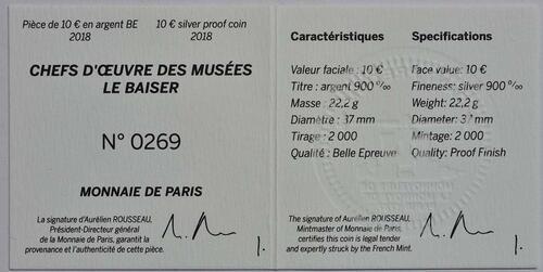 Zertifikat:Frankreich : 10 Euro Le Baiser / Der Kuss  2018 PP