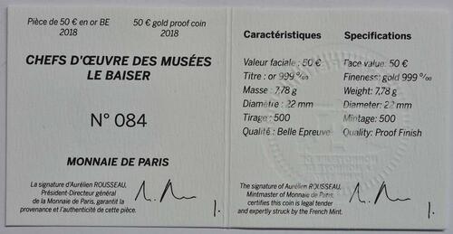 Zertifikat:Frankreich : 50 Euro Le Baiser / Der Kuss  2018 PP