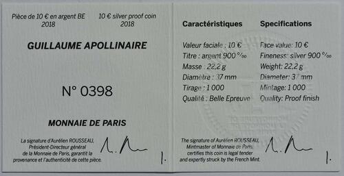Zertifikat:Frankreich : 10 Euro Guillaume Apollinaire  2018 PP