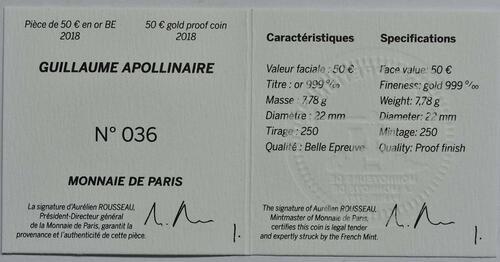Zertifikat:Frankreich : 50 Euro Guillaume Apollinaire  2018 PP