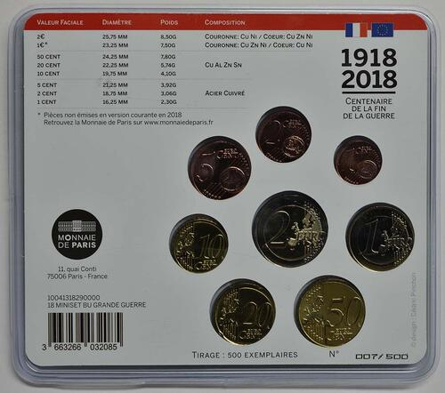 Zertifikat:Frankreich : 3,88 Euro Mini KMS Erster Weltkrieg  2018 Stgl.