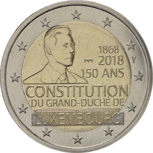 Rückseite:Luxemburg : 2 Euro 150 Jahre Verfassung - Münzzeichen Brücke Servaasbrug  2018 Stgl.