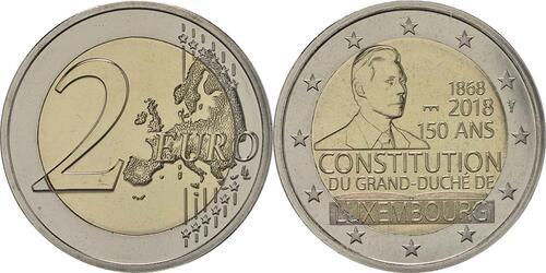 Lieferumfang:Luxemburg : 2 Euro 150 Jahre Verfassung - Münzzeichen Brücke Servaasbrug  2018 Stgl.