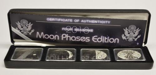 Lieferumfang:USA : 4 Dollar 4 x1 Dollar Silber Eagle - Mondpasen Set mit Rutheniumauflage  2018 Stgl.