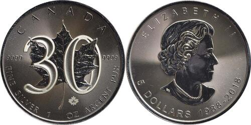 Lieferumfang :Kanada : 5 Dollar 30 Jahre Maple Leaf  2018 Stgl.