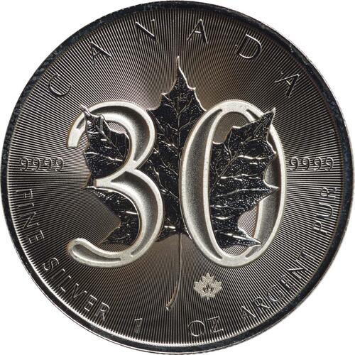 Vorderseite :Kanada : 5 Dollar 30 Jahre Maple Leaf  2018 Stgl.
