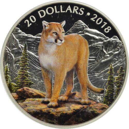 Vorderseite:Kanada : 20 Dollar Majestätische Tierwelt - Der Mutige Puma  2018 PP