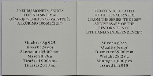 Zertifikat :Litauen : 20 Euro 100 Jahre Unabhängigkeit  2018 PP
