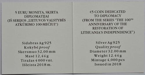 Zertifikat:Litauen : 5 Euro 100 Jahre Unabhängigkeit  2018 PP