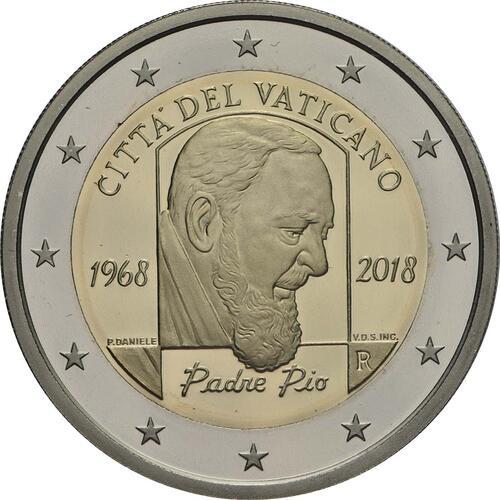 Rückseite:Vatikan : 2 Euro 50. Jahrestag des Todes von Pater Pio  2018 PP