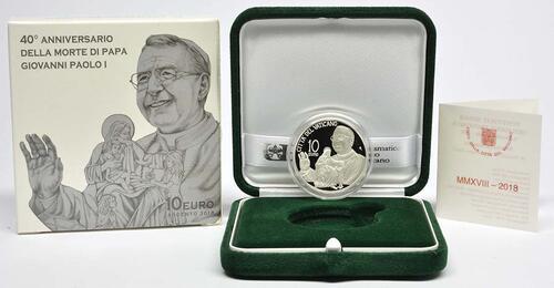 Lieferumfang:Vatikan : 10 Euro 40. Todesjahr von Papst Johannes Paul I.  2018 PP