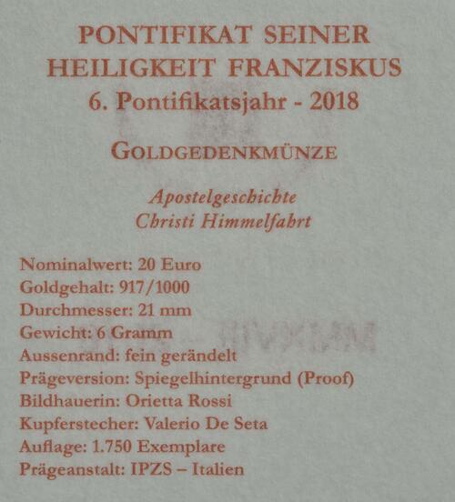 Zertifikat:Vatikan : 20 Euro Apostelgeschichte: Himmelfahrt  2018 PP