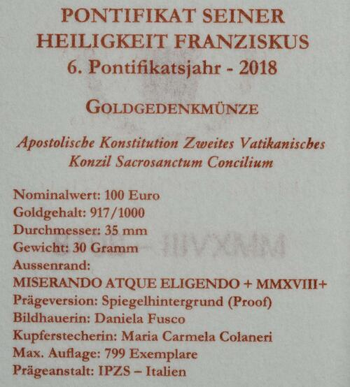 Zertifikat:Vatikan : 100 Euro Apostolische Konstitution Zweites Vatikanisches Konzil: Sacrosanctum Concilium  2018 PP