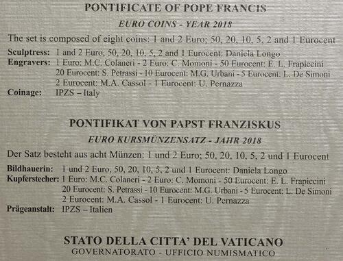 Zertifikat:Vatikan : 3,88 Euro KMS Vatikan  2018 Stgl.