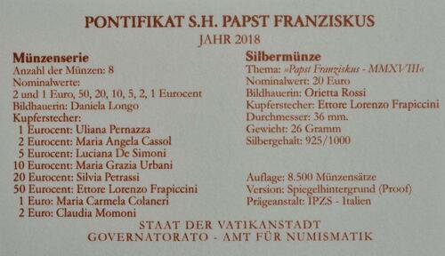 Zertifikat:Vatikan : 23,88 Euro KMS Vatikan mit 20 Euro Gedenkmünze  2018 PP
