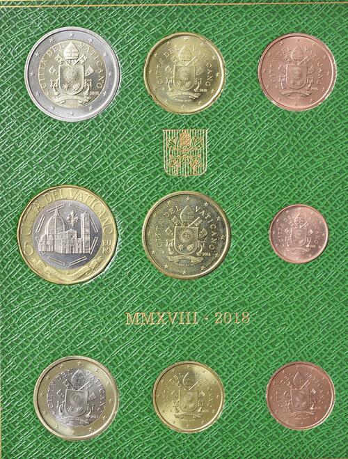 Rückseite:Vatikan : 8,88 Euro KMS Vatikan mit 5 Euro 600 Jahre Kuppel von Santa Maria del Fiore  2018 Stgl.