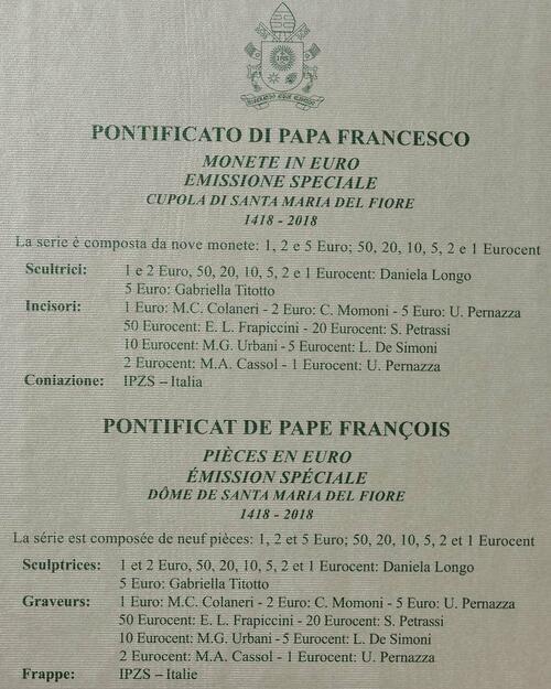 Zertifikat :Vatikan : 8,88 Euro KMS Vatikan mit 5 Euro 600 Jahre Kuppel von Santa Maria del Fiore  2018 Stgl.