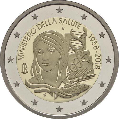 Rückseite :Italien : 2 Euro 60. Jahrestag der Gründung des Gesundheitsministeriums 1958-2018  2018 PP