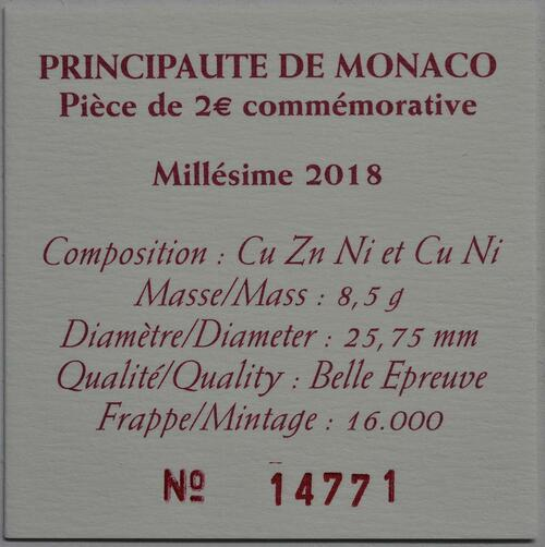 Zertifikat:Monaco : 2 Euro 250. Geburtstag von Francois-Joseph Bosio  2018 PP
