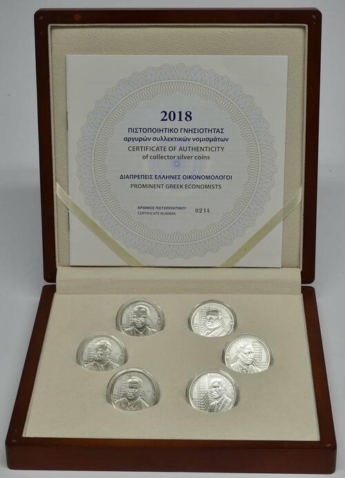 Lieferumfang:Griechenland : 36 Euro 6x6 Euro Set Berühmte griechische Ökonomen  2018 PP