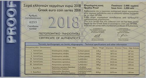 Zertifikat:Griechenland : 7,88 Euro KMS Griechenland mit 2x2 Euro Gedenkmünzen  2018 PP